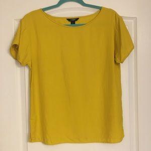 J Crew 100% Silk Yellow top